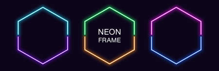 Neon hexagon Frame. Set of hexagonal neon Border in 2 outline parts. Geometric shape with copy space, futuristic glowing element for social media stories. Violet, blue, purple, green. Fully Vector 矢量图像