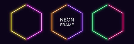 Neon hexagon Frame. Set of hexagonal neon Border in 2 outline parts. Geometric shape with copy space, futuristic glowing element for social media stories. Yellow, purple, orange, green. Fully Vector
