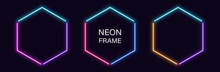 Neon hexagon Frame. Set of hexagonal neon Border in 3 angular parts. Geometric shape with copy space, futuristic glowing element for social media stories. Blue, pink, purple, violet. Fully Vector 矢量图像