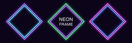 Neon rhomb Frame. Set of rhombus neon Border with double outline. Geometric shape with copy space, futuristic glowing element for social media stories. Violet, blue, purple, green. Fully Vector