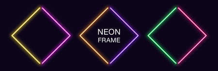 Neon rhomb Frame. Set of rhombus neon Border in 2 angular parts. Geometric shape with copy space, futuristic glowing element for social media stories. Yellow, purple, orange, green. Fully Vector