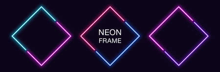 Neon rhomb Frame. Set of rhombus neon Border in 2 diagonal parts. Geometric shape with copy space, futuristic glowing element for social media stories. Blue, pink, purple, violet. Fully Vector
