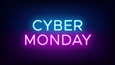 Cyber Monday sale banner in neon style. Promo banner with glowing neon text of Cyber Monday for social media and advertising. Vivid headline and title. Vector illustration, blue and purple colors 矢量图像