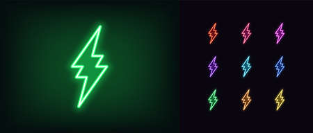 Neon thunderbolt icon. Glowing neon lightning bolt, electrical storm in vivid colors. Bright electric flash, electric power, high voltage. Icon set, sign, symbol for UI. Vector illustration
