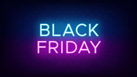 Black Friday sale banner in neon style. Promo banner with glowing neon text of Black Friday for social media and advertising. Vivid headline and title. Vector illustration, blue and purple colors