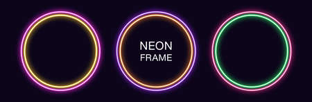 Neon circle Frame. Set of round neon Border with double outline. Geometric shape with copy space, futuristic graphic element for social media stories. Yellow, purple, orange, green. Fully Vector