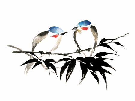 Ink illustration of two little birds with red cheeks and blue heads sitting on bamboo branch. Sumi-e, u-sin, guohua painting style. Silhouette made up of brush strokes isolated on white background.