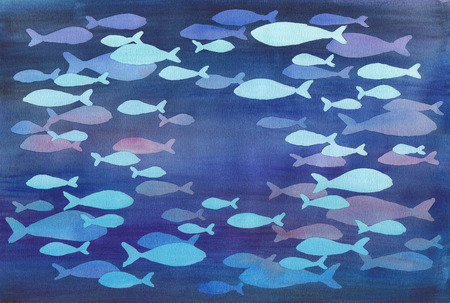 deep blue: Watercolor illustration of abstract fishes in the deep blue sea. Stock Photo