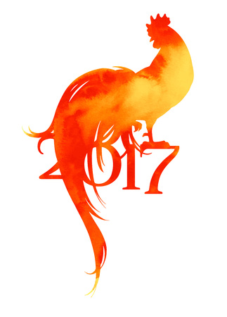 New 2017 year symbol of cock with watercolor texture in shades yellow and red. Rooster with scrolling tail. Vector illustration. Chinese horoscope.