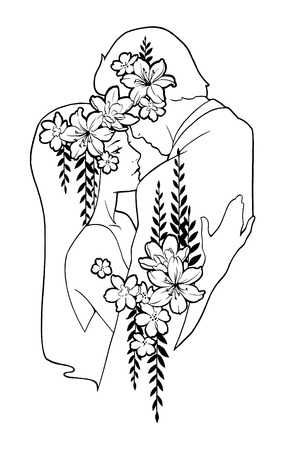 cuddling: Man and woman cuddling, decorated with flowers. Hand painted illustration in black ink. Love couple dancing.