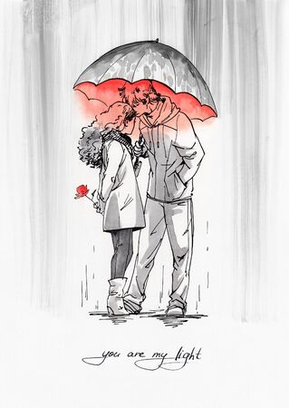 Couple with umbrella under the rain. Ink graphic illustration with red watercolor.