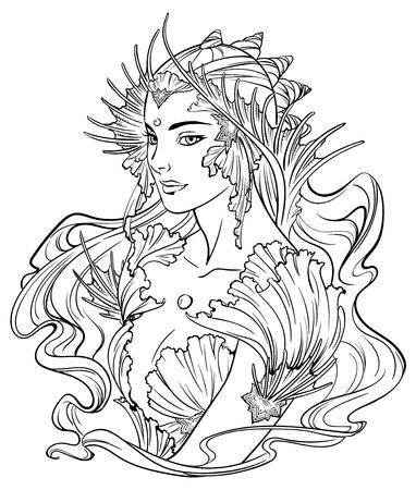 Illustration de princesse de sirène avec des cheveux frisés, décorée avec des éléments de coquillage. Noir et blanc, anti-stress. Livres de coloriage adultes.