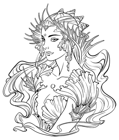 Illustration of mermaid princess with curled hair, decorated with seashell elements. Black and white, anti-stress. Adult coloring books. Illustration