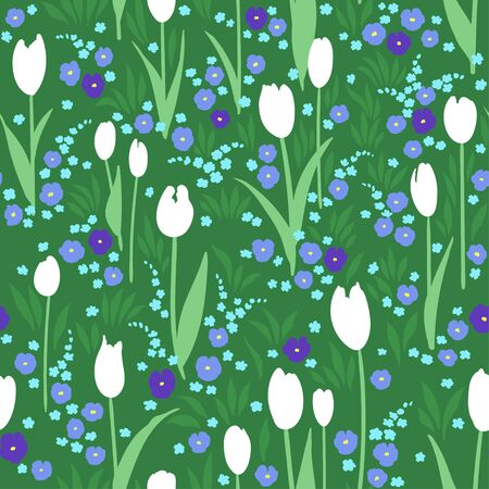 pansies: Vector seamless pattern with green summer meadow. Blooming flowers, white tulips, blue pansies. Illustration
