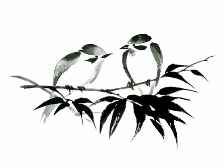 Ink illustration of two little birds sitting on the bamboo branch. Sumi-e, u-sin, guohua painting style. Silhouette made up of black brush strokes on white background.