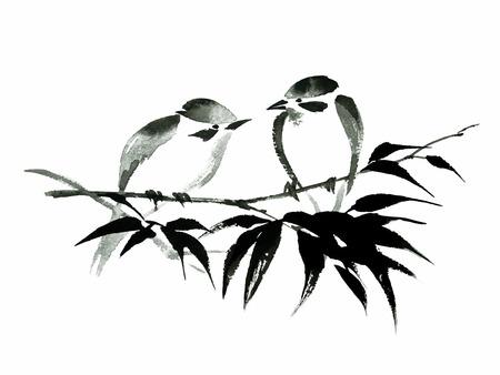 Ilustração de tinta de dois passarinhos sentado no galho de bambu. Sumi-e, u-sin, estilo de pintura guohua. A silhueta compo de cursos pretos da escova no fundo branco.