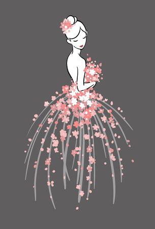 Art sketching of beautiful young bride with pink flowers. Vector illustration, on dark background.