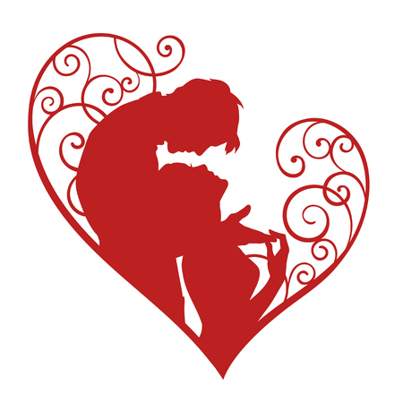 Loving couple in decorative heart. Red sketch silhouette isolated on white background. Vetores