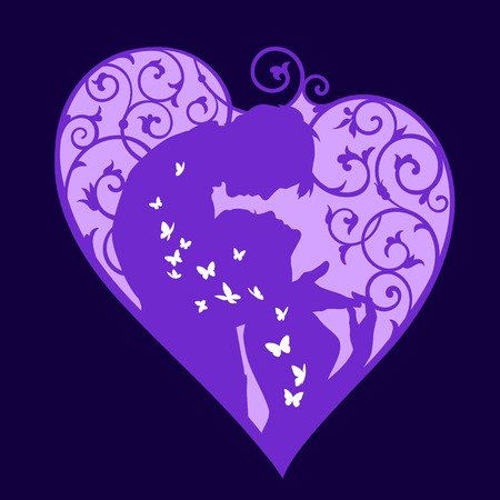 fiance: Loving couple inside decorative heart with swirls and white butterflies. Violet colored silhouette on dark background. For wedding and Valentine day cards and invitations.