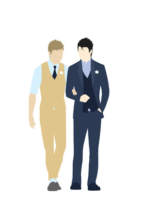 Gay wedding couple in suits. Same-sex family. Gay marriage. Two caucasian men getting married on isolated background. Vector art, cartoon style. Design for wedding invitation, Save the Date cards etc.