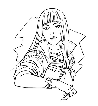 characterizing: Illustration of japanese teen pop idol, beautiful girl eastern appearance, music star. Vector line art of pretty woman isolated on white background. For adult coloring books.