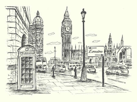 telephone booth: London street scene with telephone booth and Big Ben Illustration