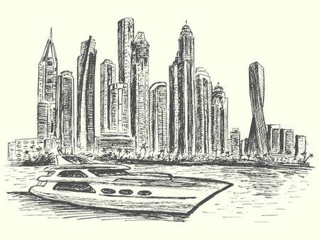 Dubai panorama scene with modern luxury boat and architecture, hand drawn, sketch style, vector, illustration Ilustração