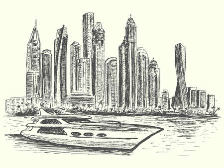 Dubai panorama scene with modern luxury boat and architecture, hand drawn, sketch style, vector, illustration Illustration