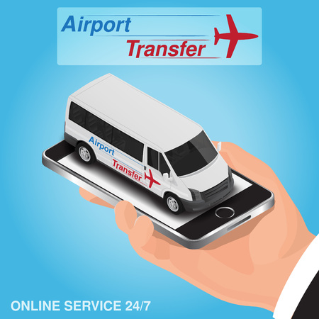 Isometric mobile app online airport transfer order concept. Illustration
