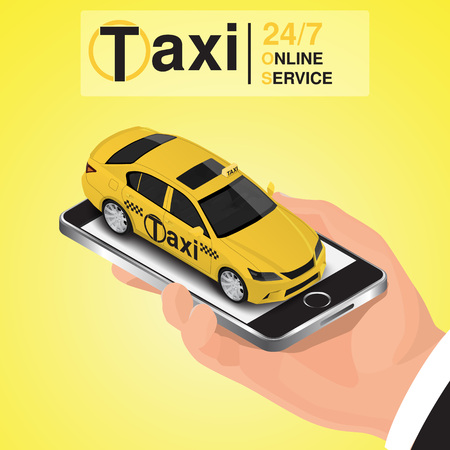 Isometric mobile app online taxi order concept. Illustration