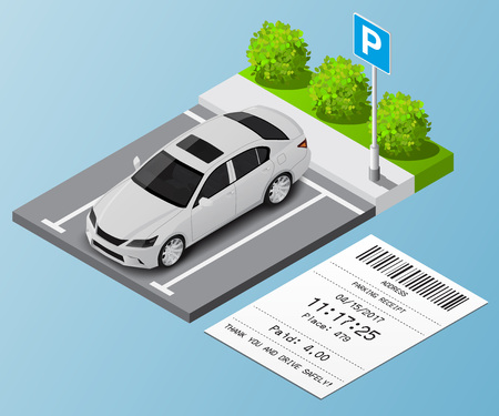 Ilustracji wektorowych izometrycznej Samochód w parkingu i bilety parkingowe Ilustracje wektorowe