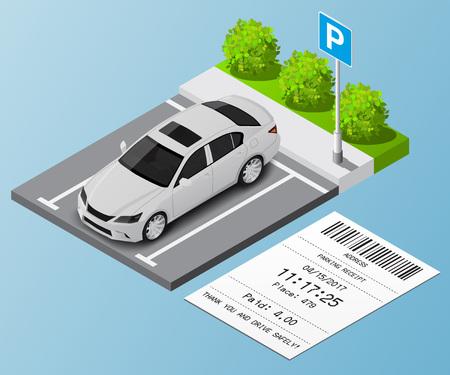 Ilustración vectorial isométrica Coche en el estacionamiento y los billetes de estacionamiento