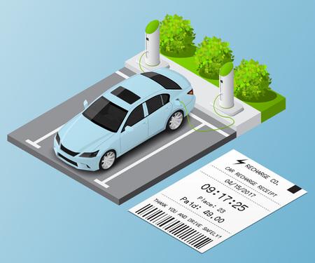 Ilustración vectorial isométrica Coche en el estacionamiento para recarga y boleto.