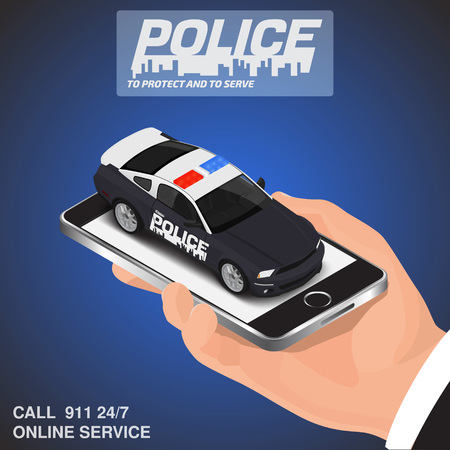 Isometric mobile app online call police concept Illustration