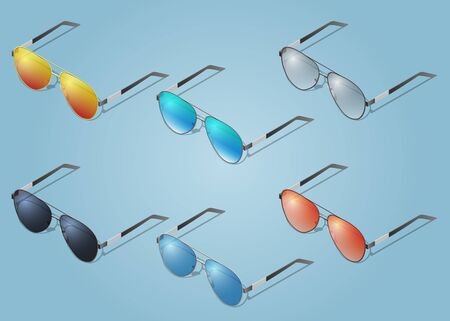 Vector isometric sunglasses icons. For infographics or isometric design Illustration