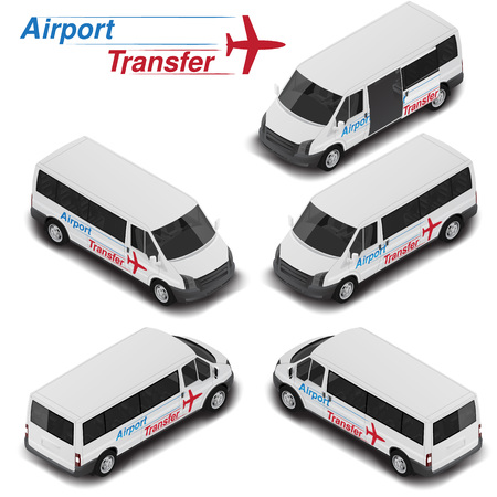 Vector isometric high quality passanger van for airport transfer. Transport icon.