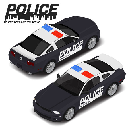 Vector isometric high quality police sport car. Transport icon. Illustration