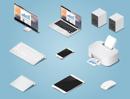 Isometric digital vector objects set illustration. Collection of computers and supplies
