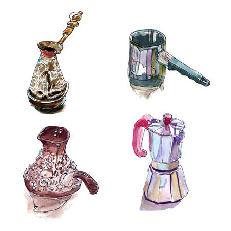 Watercolor sketches of coffee maker