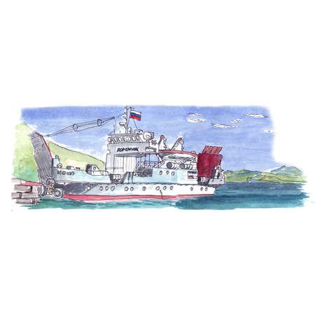 Watercolor sketch of a sea ferry transport Foto de archivo