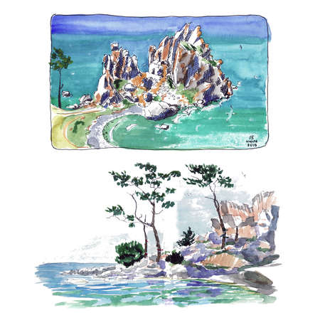 Turquoise water rocks and lake + Watercolor sketch