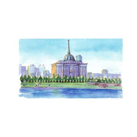 Watercolor sketch Presidential House Astana