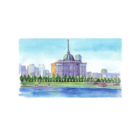 Watercolor sketch Presidential House Astana