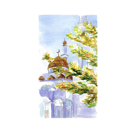 Watercolor sketch white stone mosque Stock Photo