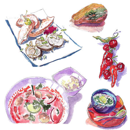 Watercolor sketch of unsweetened dishes: soup, hot red pepper, zucchini, rice, pate with toast Zdjęcie Seryjne