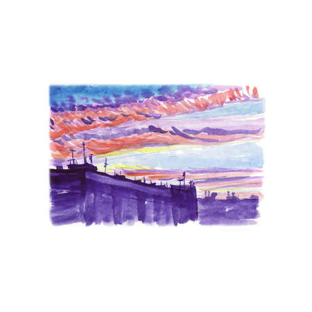 Watercolor sketch of the city landscape with high-rise buildings, clouds and dawn. Stock Photo