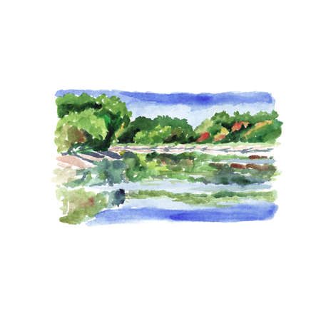 River landscape with trees and reflections in the water - watercolor sketch.