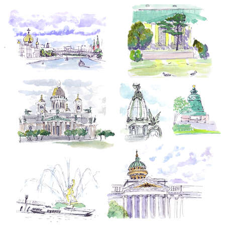 Architectural building Landmarks Watercolor sketch Stock Photo