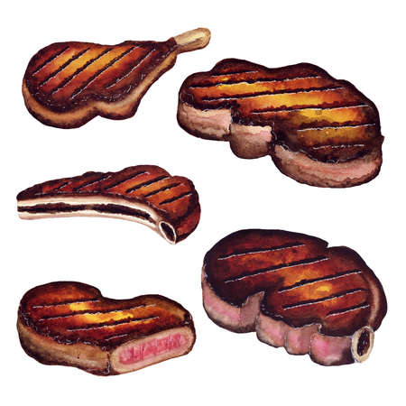 Steak juicy meat grilled grill - Watercolor sketch Stock Photo