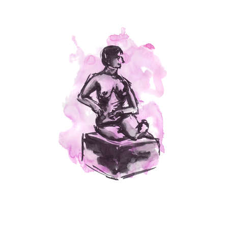 Quick sketch on a watercolor background with black ink - nude female figure Stock Photo